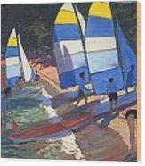 Sailboats South Of France Wood Print