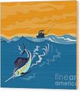 Sailfish Fish Jumping Retro Wood Print