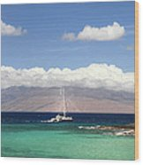 Sailing And Diving Maui Wood Print