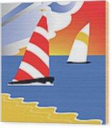 Sailing Before The Wind Wood Print