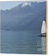 Sailing Boat And Mountain Wood Print