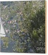 Sailing Boat And Trees Wood Print
