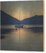 Sailing Boat At Night Wood Print