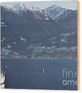 Sailing Boat On A Lake Wood Print