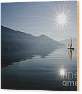 Sailing Boat On The Lake Wood Print