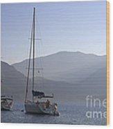 Sailing Boats At Dawn In Karacaoren Bay Wood Print