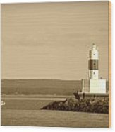 Sailing By The Marquette Presque Isle Lighthouse Wood Print by Mark J Seefeldt
