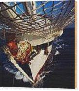 Sailing, Figurehead On The Prow Of A Wood Print