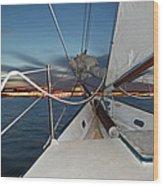 Sailing In The Bay Wood Print