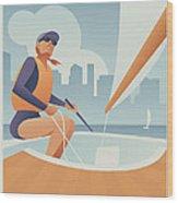 Sailing Lake Union In Seattle Wood Print