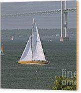 Sailing Newport Wood Print