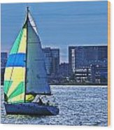 Sailing On Boston Harbor Wood Print