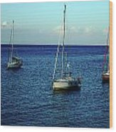 Sailing The Blue Waters Of Greece Wood Print
