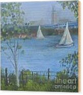 Sailing The Delaware Wood Print