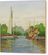 Sailing To The Harbour Wood Print