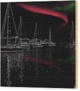 Sailing Under Strange Lights Wood Print