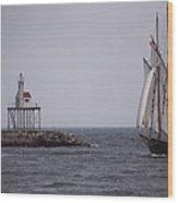 Sailing Vessel Entering Gloucester Wood Print