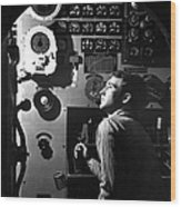 Sailor At Work In The Electric Engine Wood Print