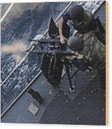 Sailors Fire A Dual-mounted M240 Wood Print