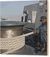 Sailors Handle Mooring Lines Aboard Uss Wood Print