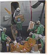 Sailors Load Mail On To A C-2a Wood Print
