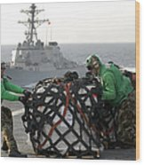 Sailors Move Supplies On The Flight Wood Print