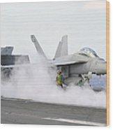 Sailors Prepare An Fa-18f Super Hornet Wood Print