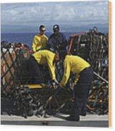 Sailors Prepare Pallets Of Cargo Aboard Wood Print