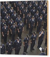 Sailors Stand At Attention During An Wood Print