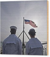 Sailors Stand By To Lower The Ensign Wood Print