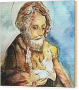 Saint Joseph And Child Wood Print by Myrna Migala