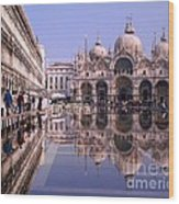 Saint Mark Square Under Water Wood Print