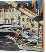 Saint Tropez Harbor Wood Print