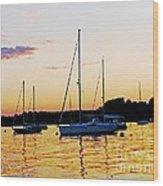 Salem Harbor Amber Sunset Wood Print