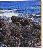 Sally Lightfoot Crabs On Basalt Wood Print