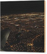 Salt Lake City At Night Wood Print