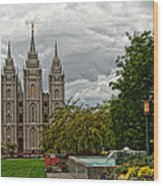 Salt Lake City Temple Grounds Wood Print