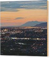 Salt Lake Nightscape Wood Print
