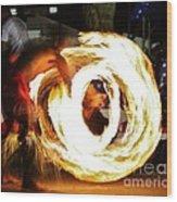 Samoan Fire Dancer Wood Print