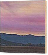 Sams Valley Panoramic Sunset Wood Print