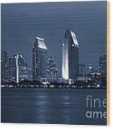 San Diego At Night Wood Print by Paul Velgos