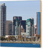 San Diego California Skyline Wood Print