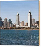 San Diego City Skyline Wood Print