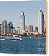 San Diego Skyline And Tour Boat Wood Print