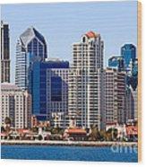 San Diego Skyline Photo Wood Print by Paul Velgos