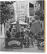 San Francisco - Maiden Lane - Outdoor Lunch At Mocca Cafe - 5d17932 - Black And White Wood Print