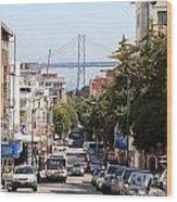 San Francisco Bay Bridge Through Chinatown Wood Print