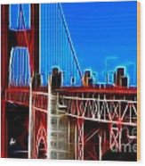 San Francisco Golden Gate Bridge Electrified Wood Print