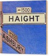 San Francisco Haight Ashbury Wood Print