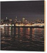 San Francisco Night View From The Ocean Wood Print